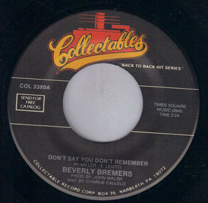 BEVERLY BREMERS / JIGSAW, DON'T SAY YOU DON'T REMEMBER / SKY HIGH
