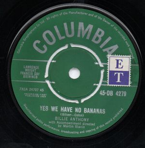 BILLIE ANTHONY, YES WE HAVE NO BANANAS / TOO LATE NOW - looks unplayed