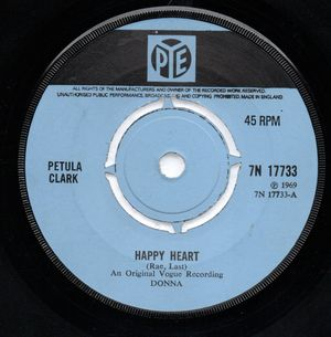 PETULA CLARK , HAPPY HEART / LOVE IS THE ONLY THING
