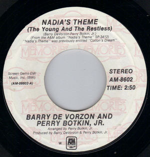 BARRY DE VORZON & PERRY BOTKIN JR , NADIAS THEME / BLESS THE BEASTS AND CHILDREN