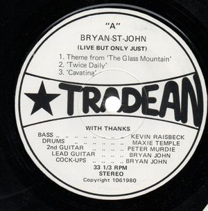BRYAN ST JOHN , LIVE BUT ONLY JUST - EP 33rpm