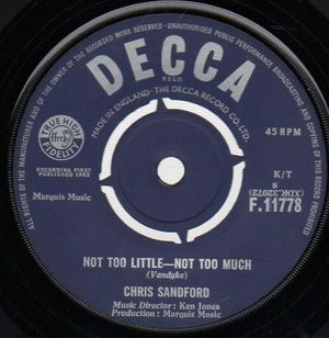 CHRIS SANDFORD   , NOT TOO LITTLE-NOT TOO MUCH / I'M LOOKIN